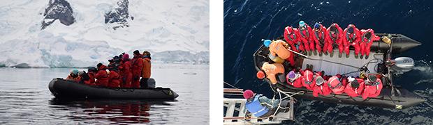 南極探検旅行 南極半島ハイキングと氷山クルーズ ゾディアックボート